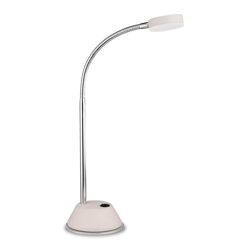 Tobias Table Lamp 1 Light 3W LED 3000K, 300lm, Matt White/Frosted Acrylic/Polished Chrome, 3yrs Warranty