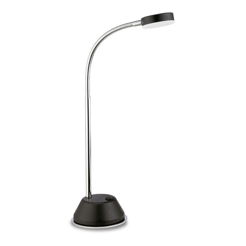 Tobias Table Lamp 1 Light 3W LED 3000K, 300lm, Matt Black/Frosted Acrylic/Polished Chrome, 3yrs Warranty