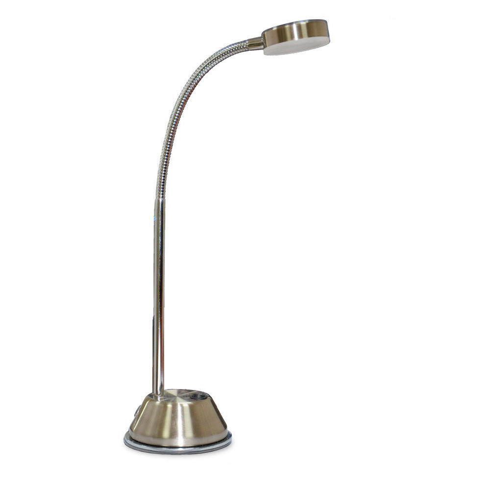 Tobias Table Lamp 1 Light 3W LED 3000K, 300lm, Satin Nickel/Frosted Acrylic/Polished Chrome, 3yrs Warranty