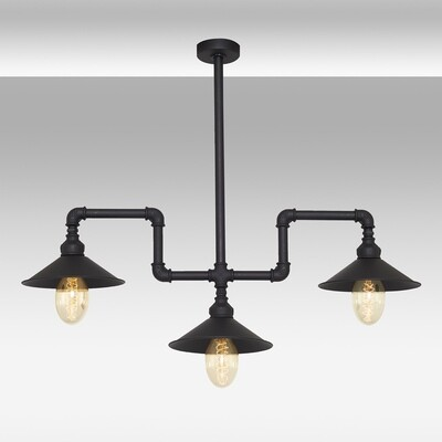 Pipes 3 pendant on a rod luminaire included spiral LED filament bulb 4W