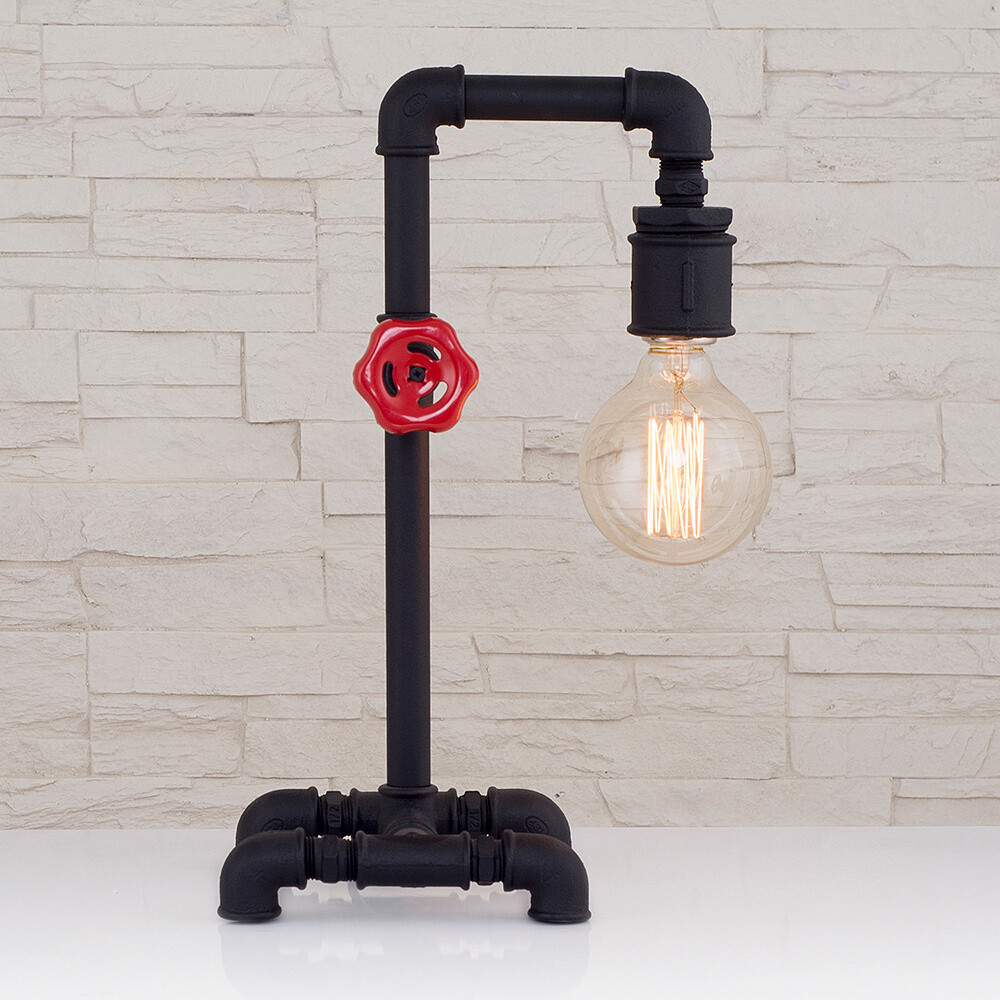 Pipes desk lamp included amber antique LED filament bulb 4W