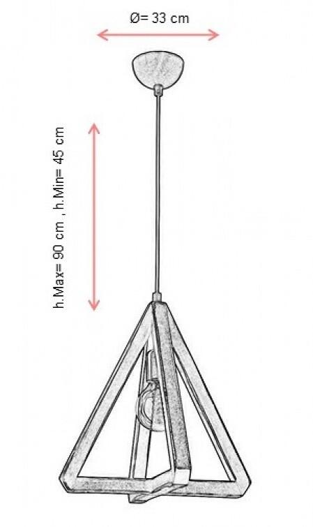 wenge triangular pendant luminaire 1xE27
