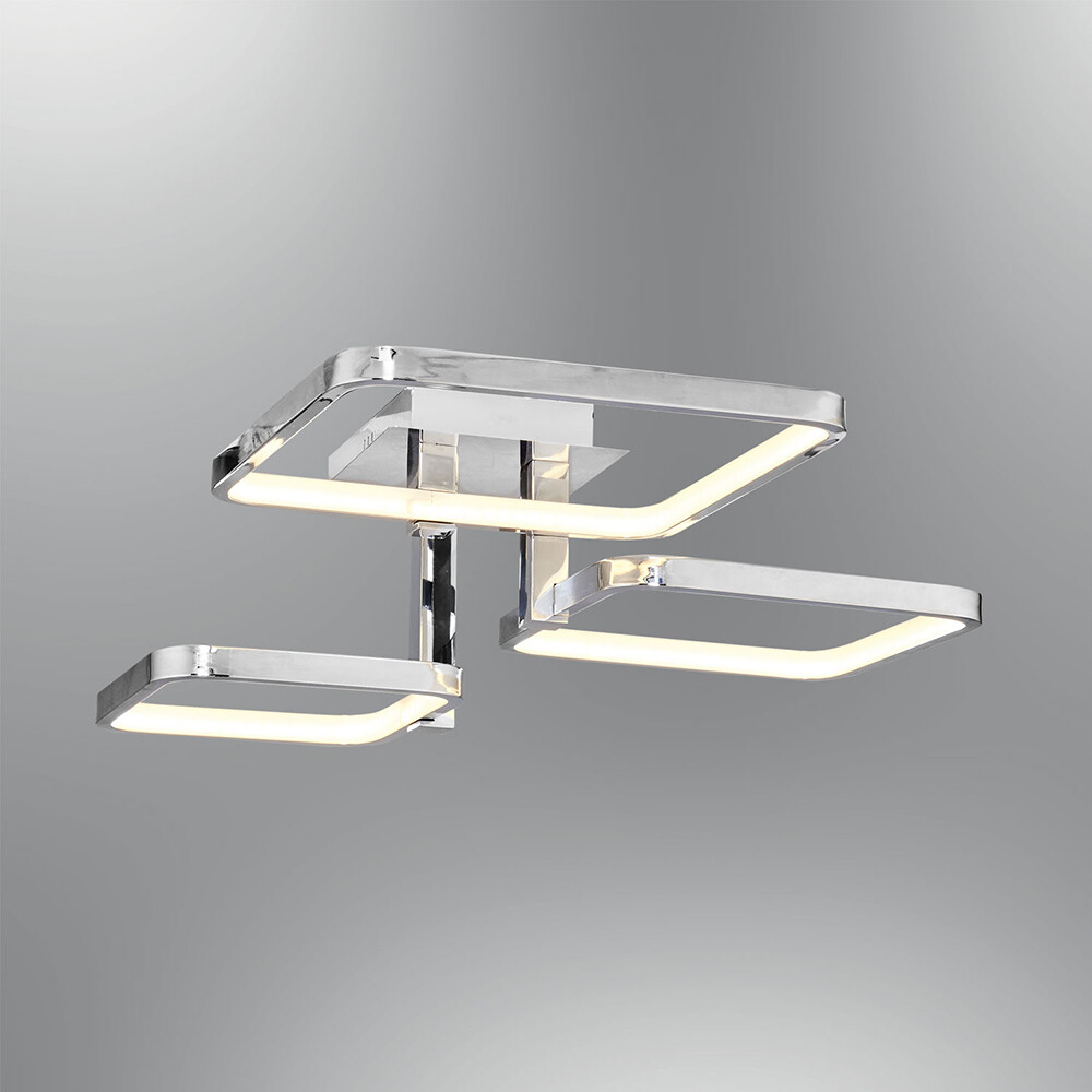 tetragono 3 LED ceiling light polished chrome