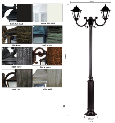 KORONATO CLASSIC LAMP POST with DOUBLE HEAD H240 2xE27