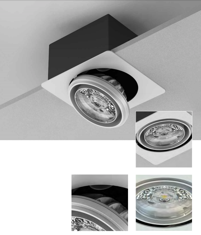 EyeLED intenseLED+ extractable down-light square single head 24W