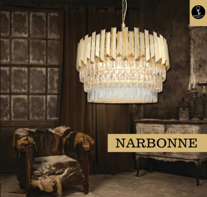 NARBONNE Ø80 30 LIGHT CHANDELIER GOLD COLOR 30xE14