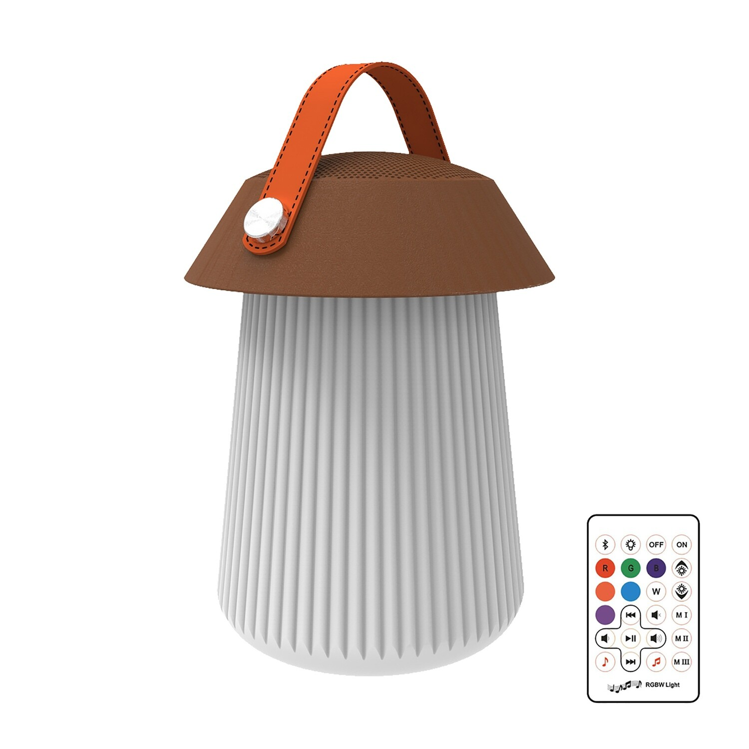 Funghi IP44 Portable 3W Speaker, 120lm, 3W LED RGBW Lamp Bluetooth Connection/Remote Control