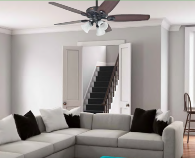 HUNTER BUILDER PLUS ceiling fan Ø132cm with light kit included with Pull Chain