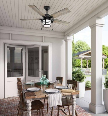 HUNTER SANTORINI outdoor ceiling fan Ø132 with Light Kit included with Pull Chain