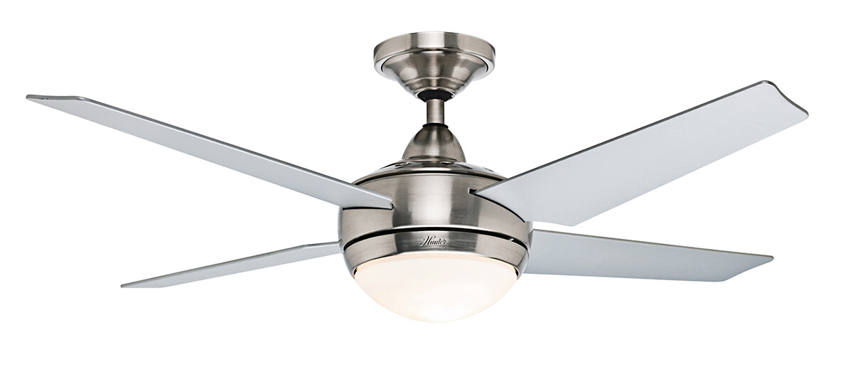 HUNTER SONIC BN ceiling fan Ø132 brushed chrome, 4 blades grey finish with Wall Control and Light Kit included