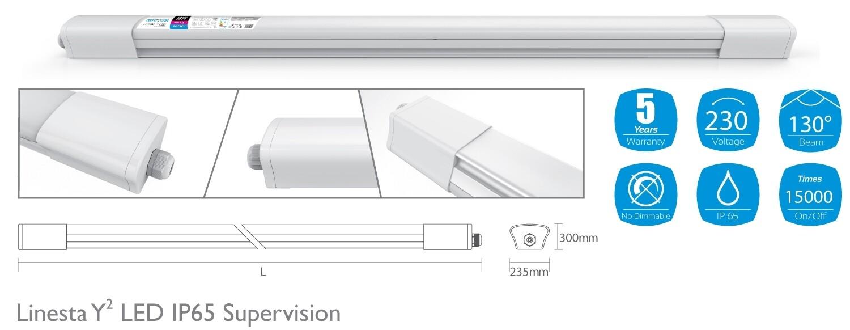 Linesta Y2 Supervision, 0.6m, 18W LED, Natural White, 4000K, 1600lm, 130°, IP65