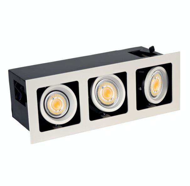 Bardian S, Triple Deep Recess Frame With Trim, 3x9W White/Black, dimmable