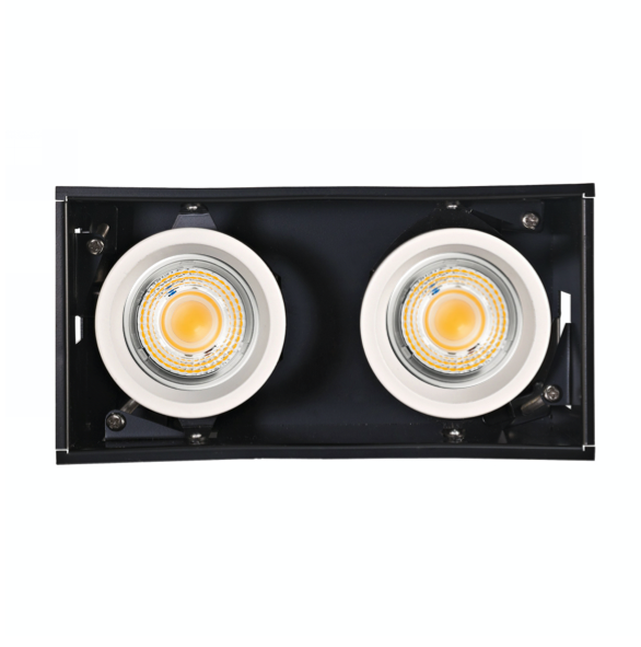 Bardian S, Double Deep Recess Trim-less, 2x9W White/Black, dimmable