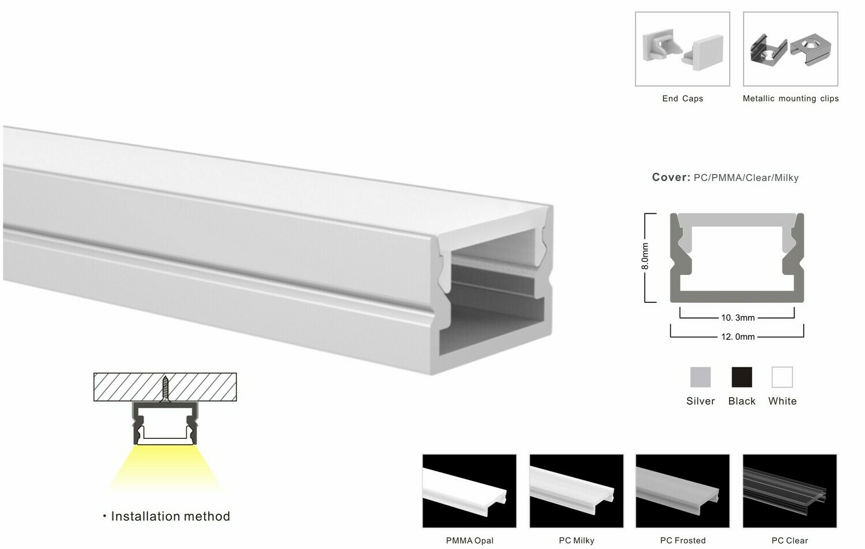 Aluminum profile for LED strip W12xH8mm