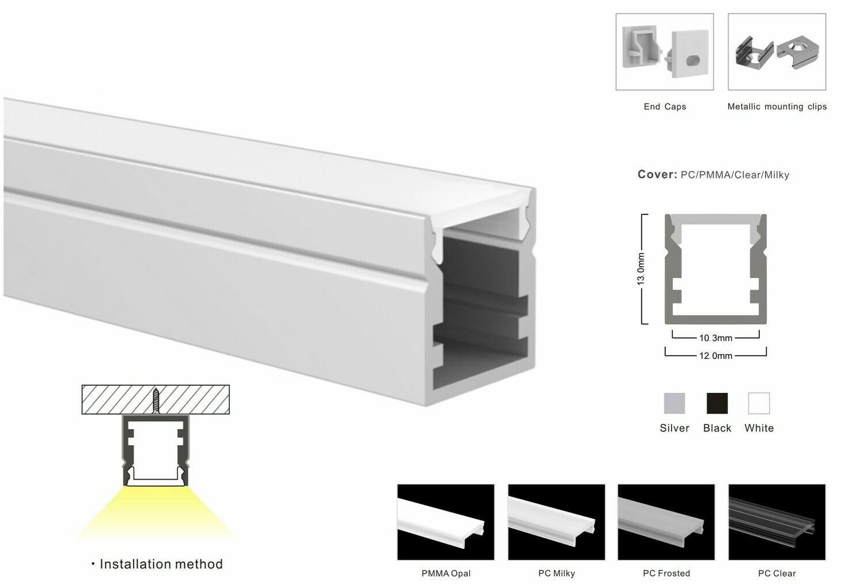 Aluminum profile for LED strip W12xH13mm