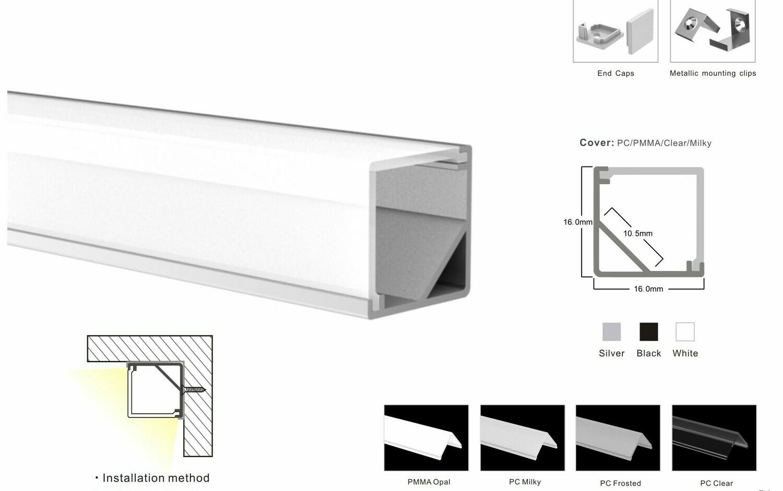 Aluminum profile for LED strip W16xH16mm