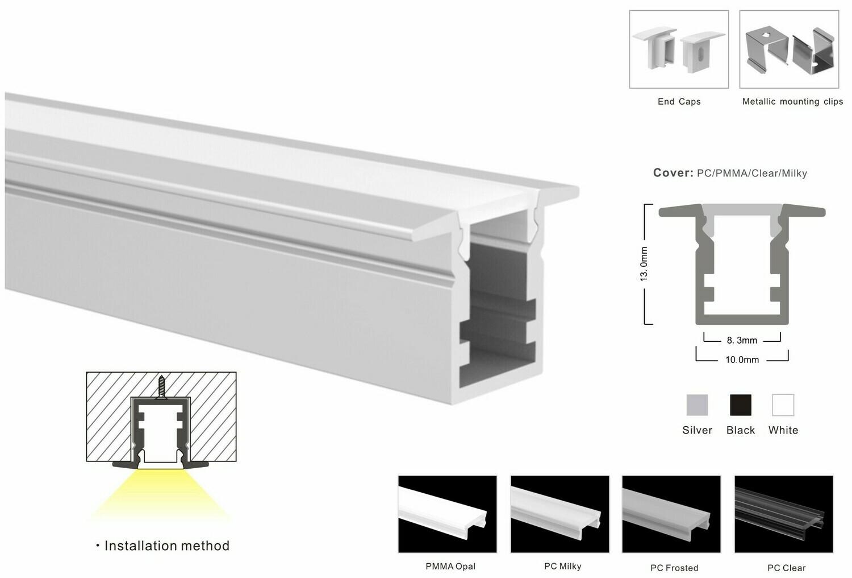 Aluminum profile for LED strip W10xH13mm