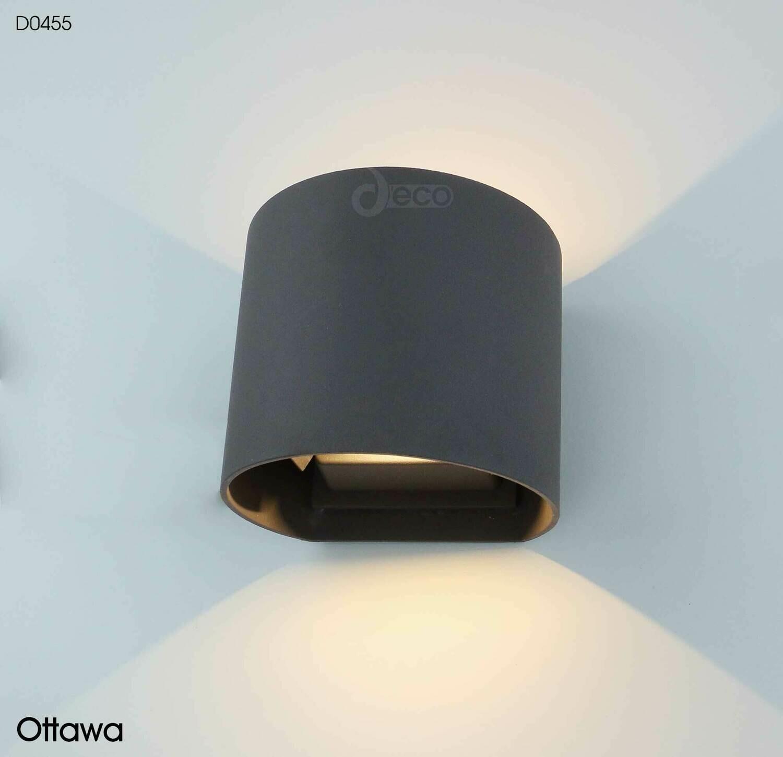 Ottawa Up & Downward Wall Light 2x3W LED 3000K, Anthracite IP54