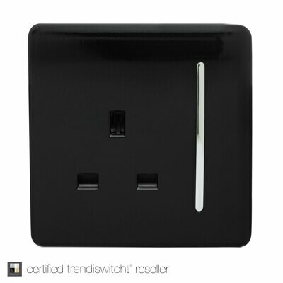 Trendi, Artistic Modern 1 Gang 13Amp Switched Socket Gloss Black Finish, BRITISH MADE, 5yrs warranty