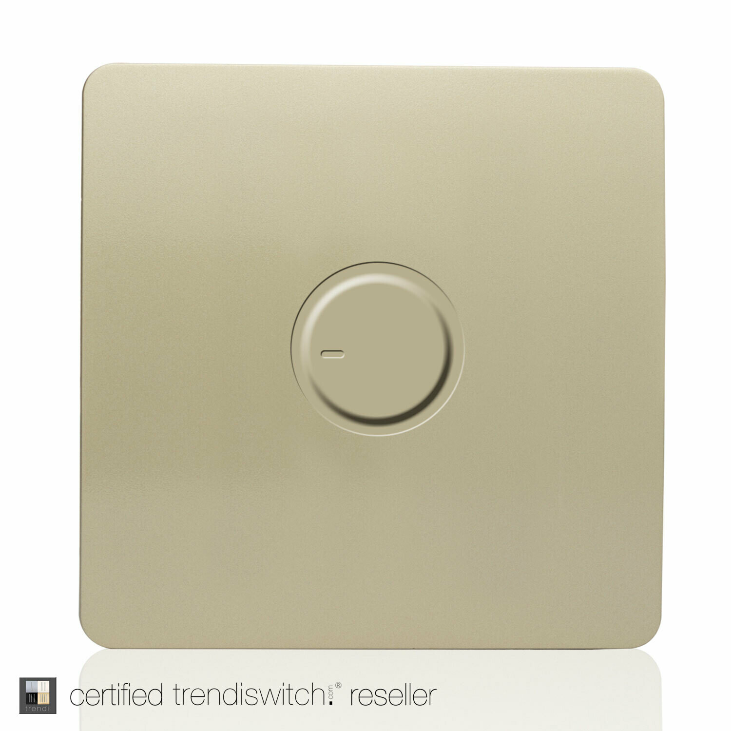 Trendi, Artistic Modern 1 Gang 1 Way Dimmer Switch, 200W Load Led Compatable Champagne Gold Finish, BRITISH MADE, 5yrs warranty