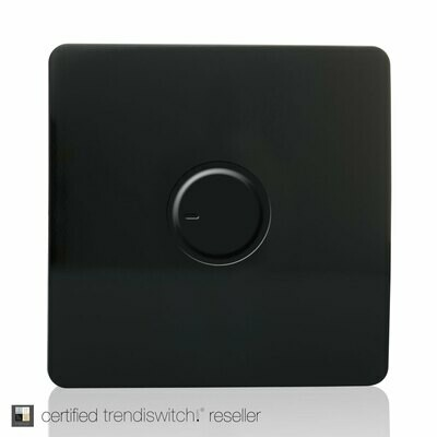 Trendi, Artistic Modern 1 Gang 1 Way Dimmer Switch, 200W Load Led Compatable Gloss Black Finish, BRITISH MADE, 5yrs warranty