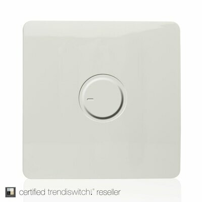 Trendi, Artistic Modern 1 Gang 1 Way Dimmer Switch, 200W Load Led Compatable Gloss White Finish, BRITISH MADE, 5yrs warranty