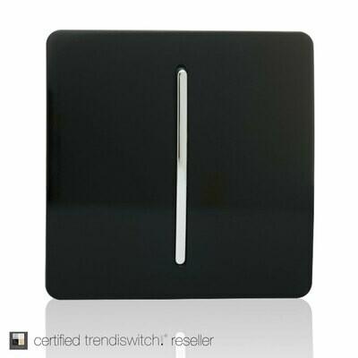 Trendi, Artistic Modern 1 Gang 3 Way Intermediate Gloss Black Finish, BRITISH MADE, 5yrs warranty