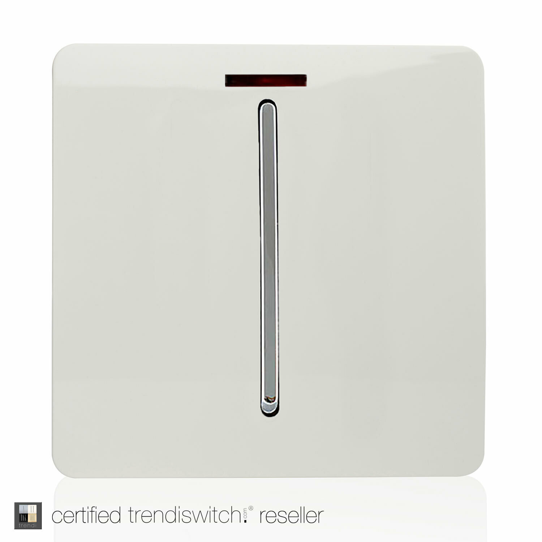 Trendi, Artistic Modern 20 Amp Neon Insert Double Pole Switch Gloss White Finish, BRITISH MADE, 5yrs warranty