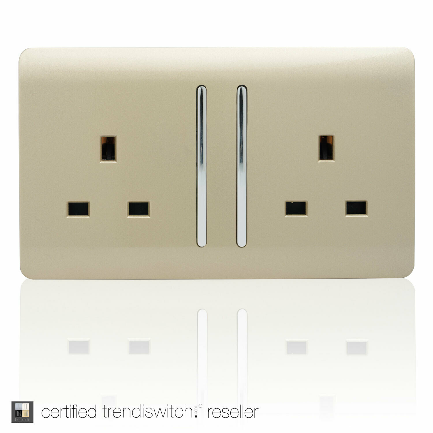 Trendi, Artistic Modern 2 Gang 13Amp Long Switched Double Socket Champagne Gold Finish, BRITISH MADE, 5yrs warranty