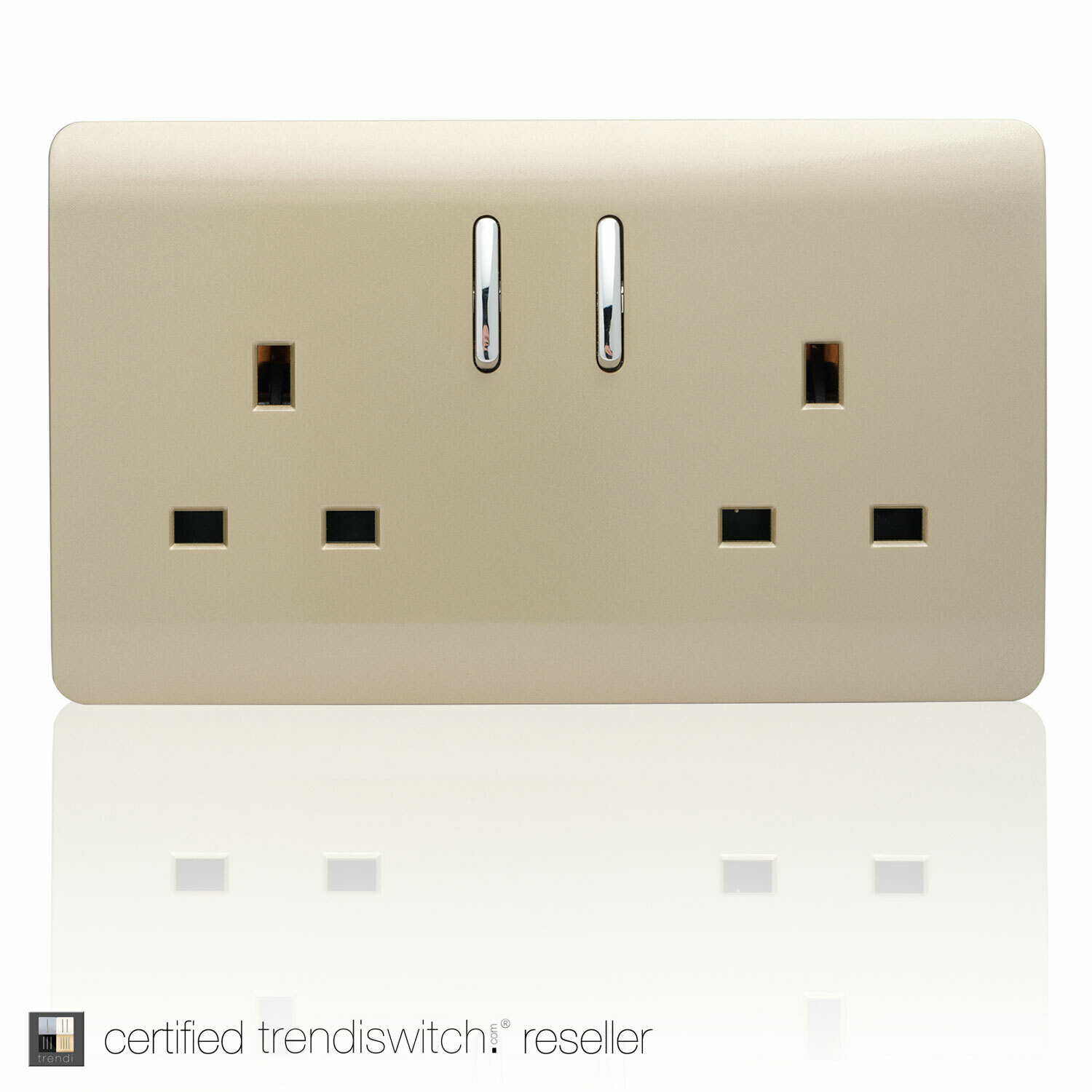Trendi, Artistic Modern 2 Gang 13Amp Short Switched Double  Socket Champagne Gold Finish, BRITISH MADE, 5yrs warranty