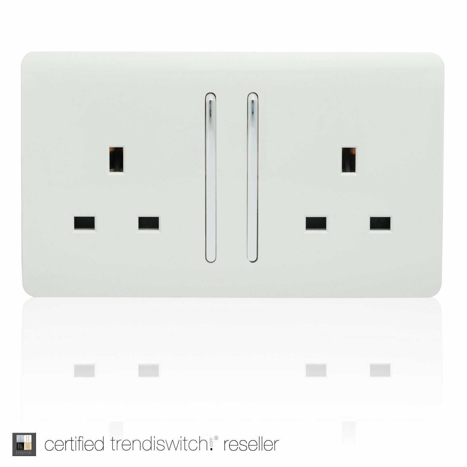 Trendi, Artistic Modern 2 Gang 13Amp Long Switched Double Socket Gloss White Finish, BRITISH MADE, 5yrs warranty