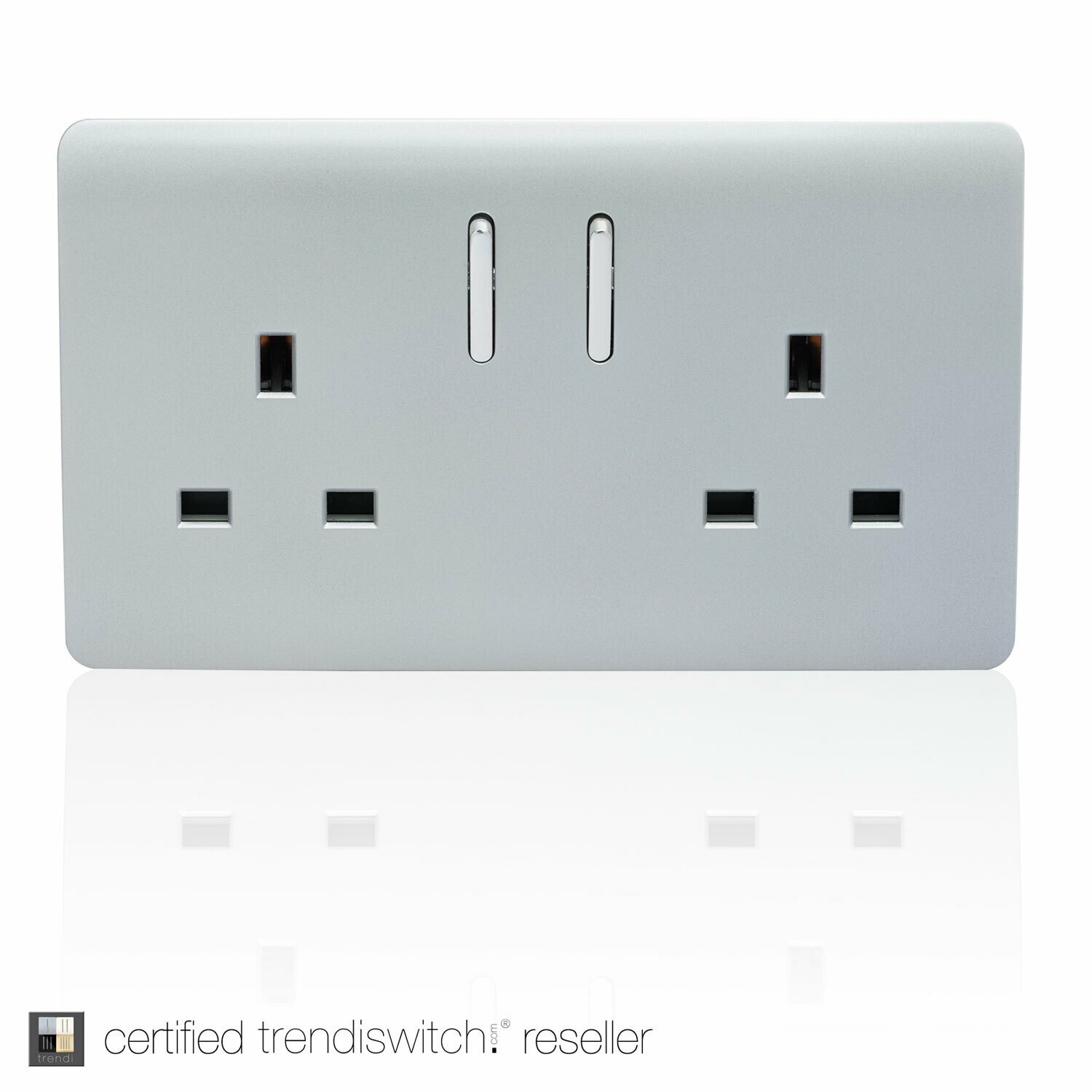 Trendi, Artistic Modern 2 Gang 13Amp Short Switched Double  Socket Silver Finish, BRITISH MADE, 5yrs warranty
