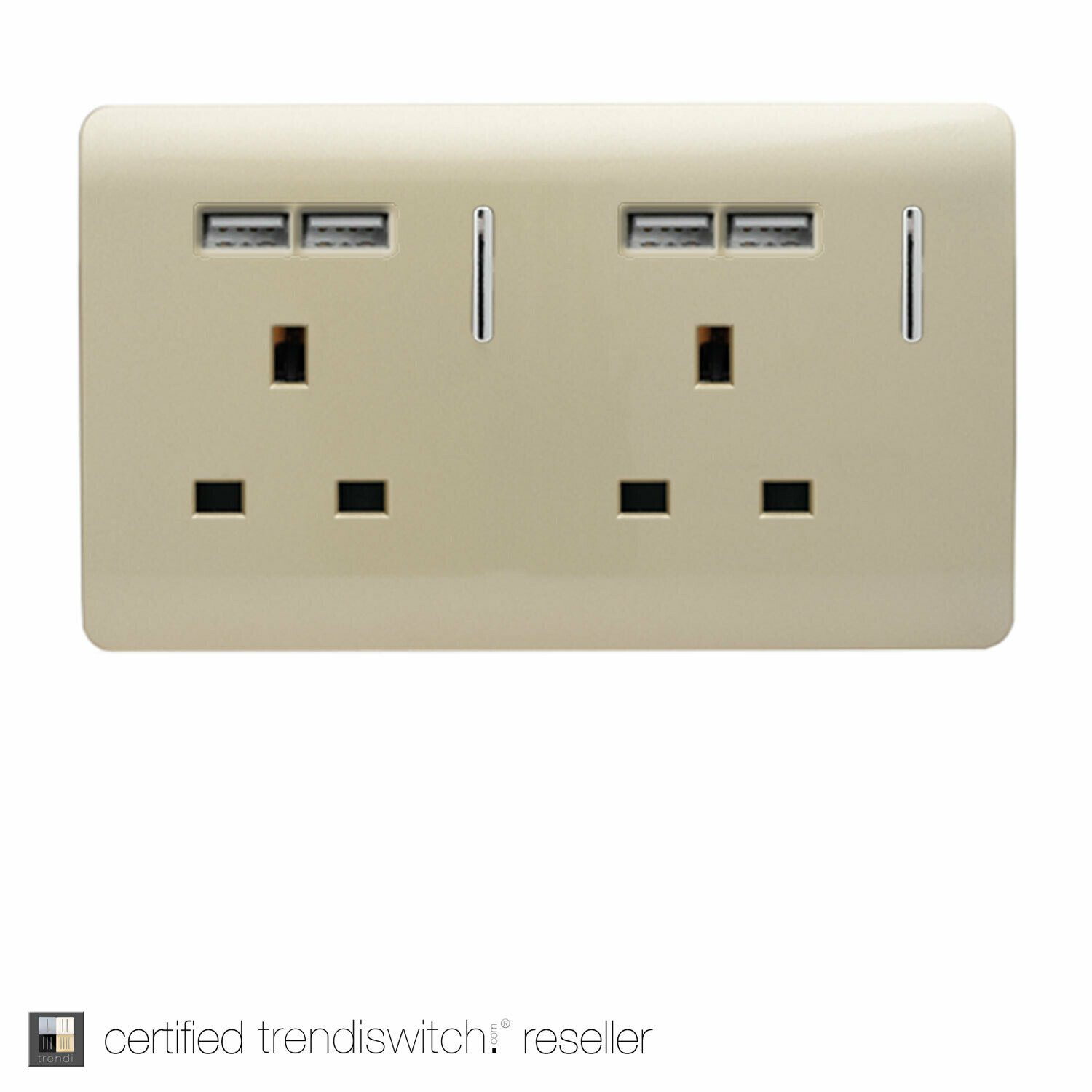 Trendi, Artistic Modern 2 Gang 13Amp Switched Double Socket With 4X 2.1Mah USB Champagne Gold Finish, BRITISH MADE, 5yrs warranty