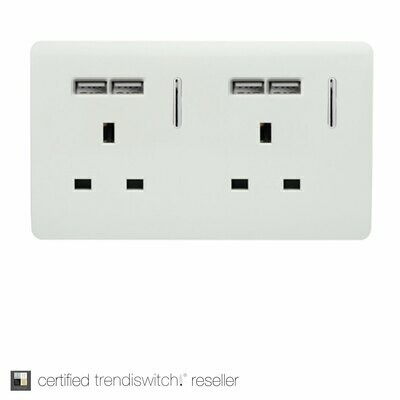 Trendi, Artistic Modern 2 Gang 13Amp Switched Double Socket With 4X 2.1Mah USB Gloss White Finish, BRITISH MADE, 5yrs warranty