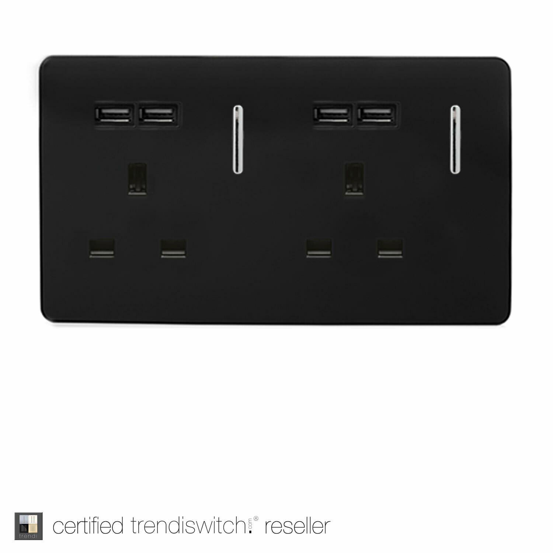 Trendi, Artistic Modern 2 Gang 13Amp Switched Double Socket With 4X 2.1Mah USB Gloss Black Finish, BRITISH MADE, 5yrs warranty