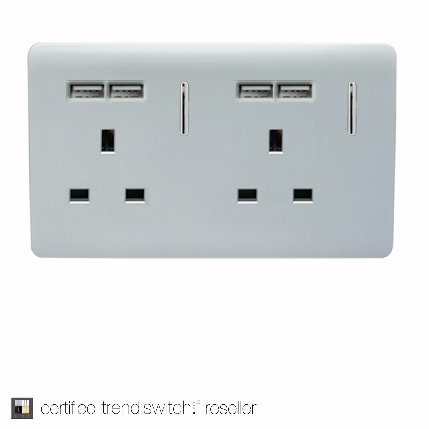 Trendi, Artistic Modern 2 Gang 13Amp Switched Double Socket With 4X 2.1Mah USB Silver Finish, BRITISH MADE, 5yrs warranty