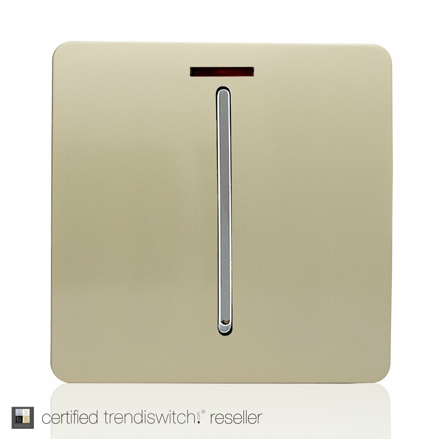 Trendi, Artistic Modern 45 Amp Neon Insert Double Pole Switch Champagne Gold Finish, BRITISH MADE, 5yrs warranty