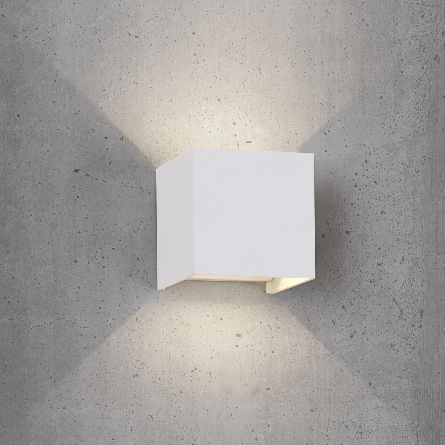 Davos Wall Lamp cube, 12W LED, 3000K, 1100lm, IP54, Sand White