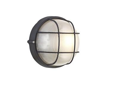 Avon Round Wall/Ceiling Lamp, 1 Light E27, IP44, Black/Glass