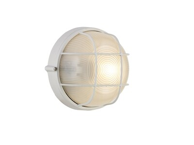 Avon Round Wall/Ceiling Lamp, 1 Light E27, IP44, White/Glass