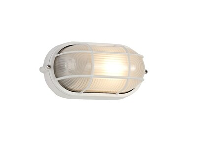 Avon Oval Wall/Ceiling Lamp, 1 Light E27, IP44, White/Glass