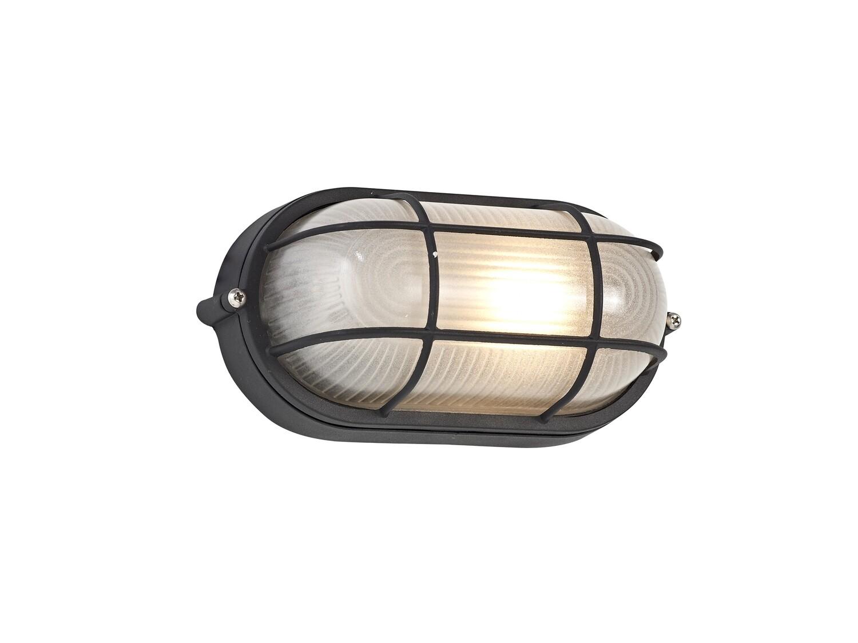 Avon Oval Wall/Ceiling Lamp, 1 Light E27, IP44, Black/Glass