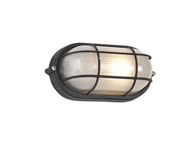 Avon Oval Wall/Ceiling Lamp, 1 Light E27, IP44, Black/Glass