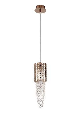 Camden Single Pendant 1 Light G9 Rose Gold/Mosaic Glass/Crystal