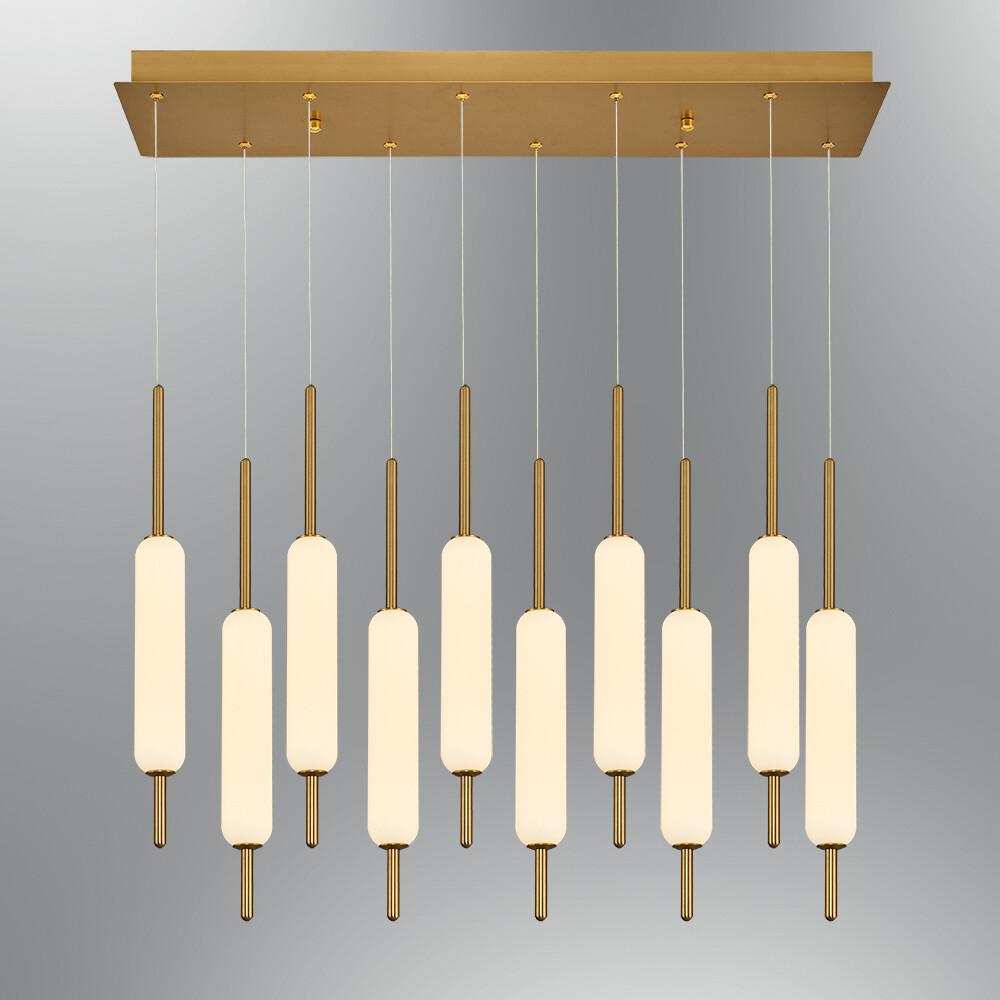 Trottola 10 lights linear base  pendant luminaire LED 100W 3000K Antique brass