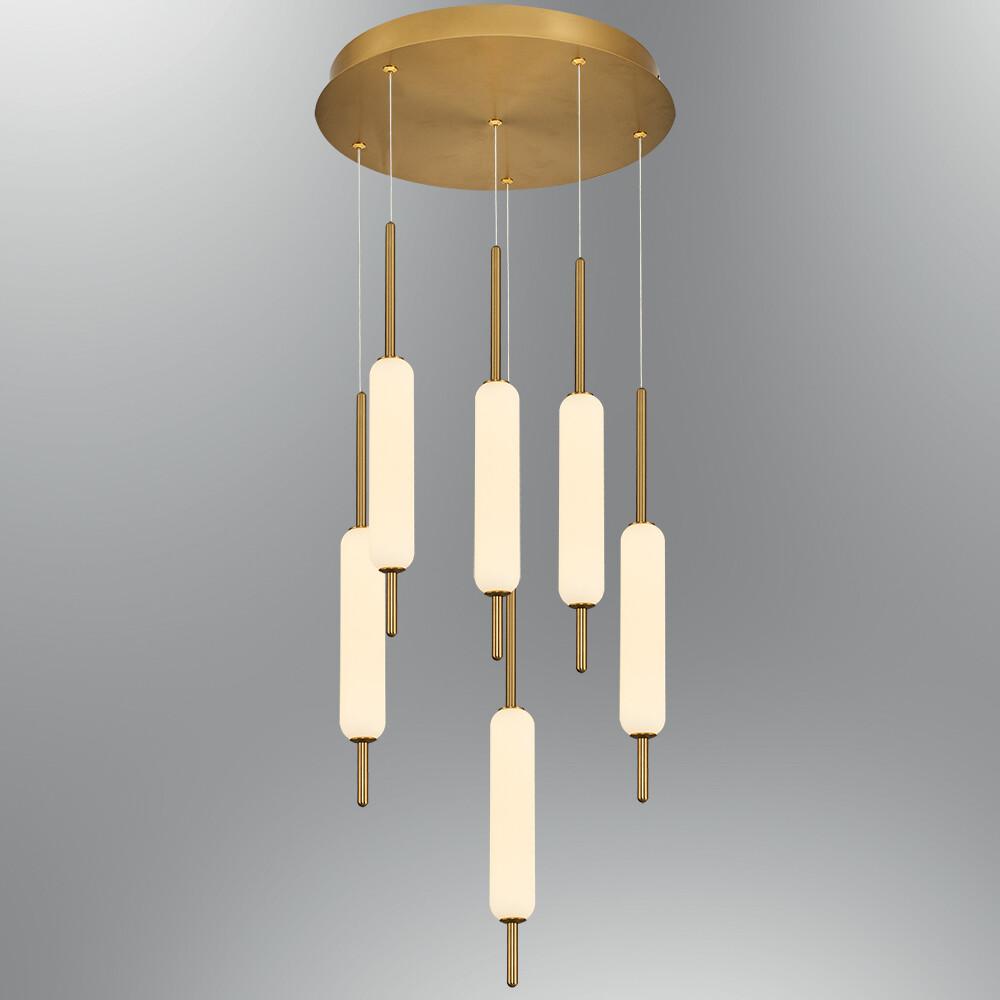 Trottola 6 lights round base pendant luminaire LED 60W 3000K Antique Brass