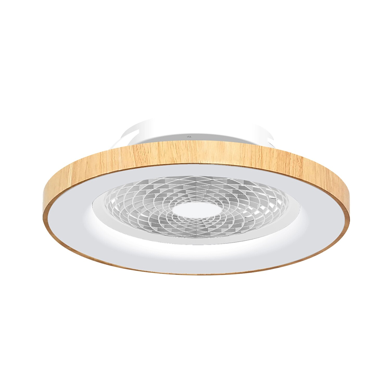 Tibet 70W LED Dimmable Ceiling Light With Built-In 35W DC Fan, c/w Remote Control and APP Control, 3000lm, Wood Effect/White, 5yrs Warranty