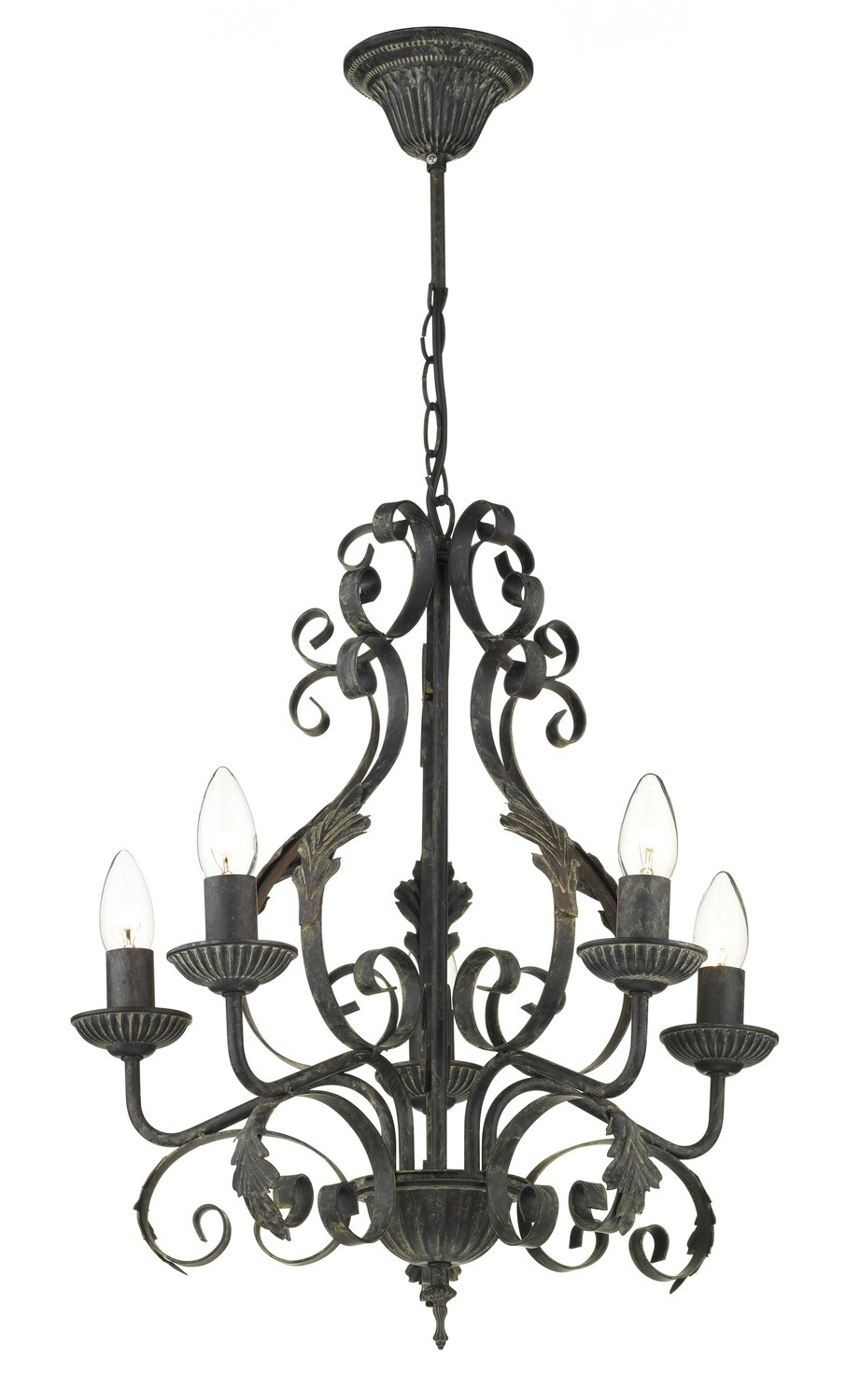 DAR Victoria Pendant 5 Light 5XE14 Candle/Black