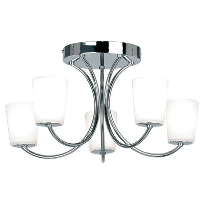 Endon 1731-5CH Chr.Flush Fitt.+Op Gls+G9 5 Light In Chrome