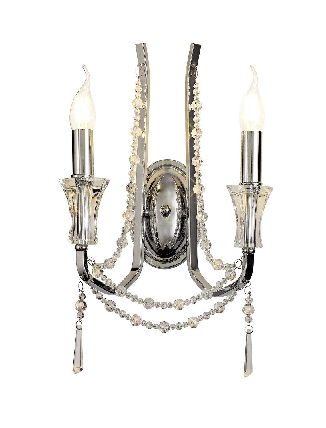 Armand Wall Lamp 2 Light E14 Polished Chrome/Crystal
